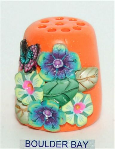BOULDER BAY- Hand crafted PRETTY 3-D FLORAL #312  on ORANGE THIMBLE & BUTTERFLY
