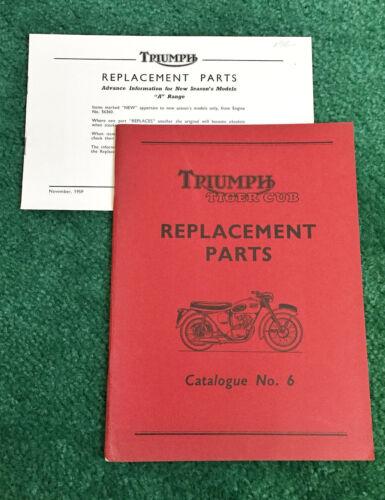 ORIG NOS 1959 TRIUMPH MOTORCYCLE PARTS MANUAL TIGER CUB 200 T20 T20C T20S 1960