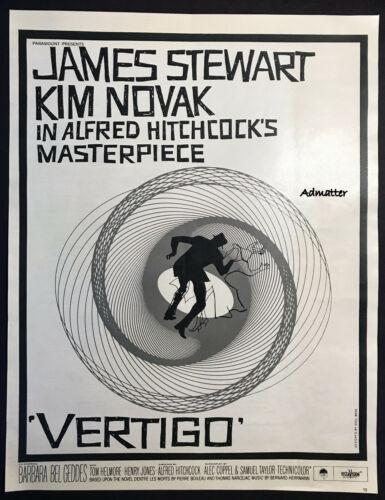 1958 VERTIGO ALFRED HITCHCOCK HOLY GRAIL WHITE MOVIE POSTER AD SAUL BASS DESIGN