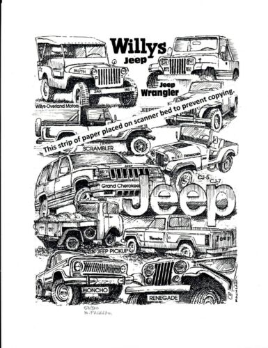 Vintage Jeep Collage ~ Pen & Ink Print