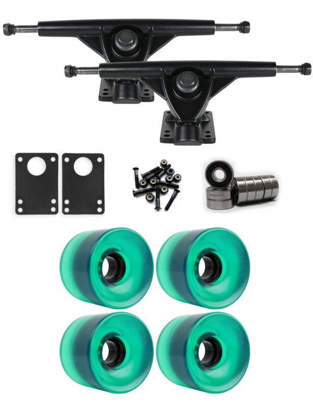 RKP Black Longboard Trucks Wheels Package 65mm x 51.5mm 83A 341C Green Clear