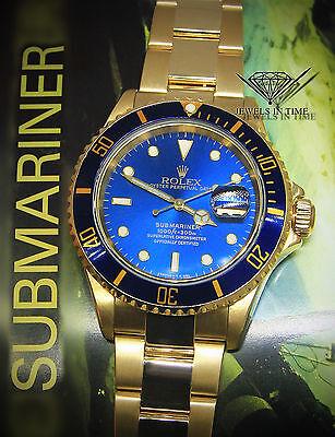 Rolex Submariner Date 18k Yellow Gold Blue Dial/Bezel Mens Dive Watch 16618 T