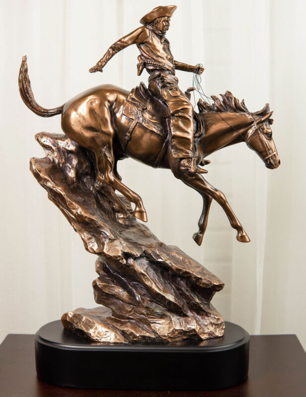 Ebros Rustic Wild West Cowboy Bandit Racing Down Rocky Slope On Horse Statue