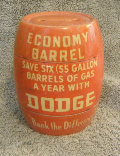 1950s Tin Litho DODGE ECONOMY BARREL Advertising Still Bank