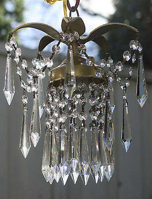 1 Pineapple lamp Hanging Swag Brass Chandelier crystal prism garland vintage