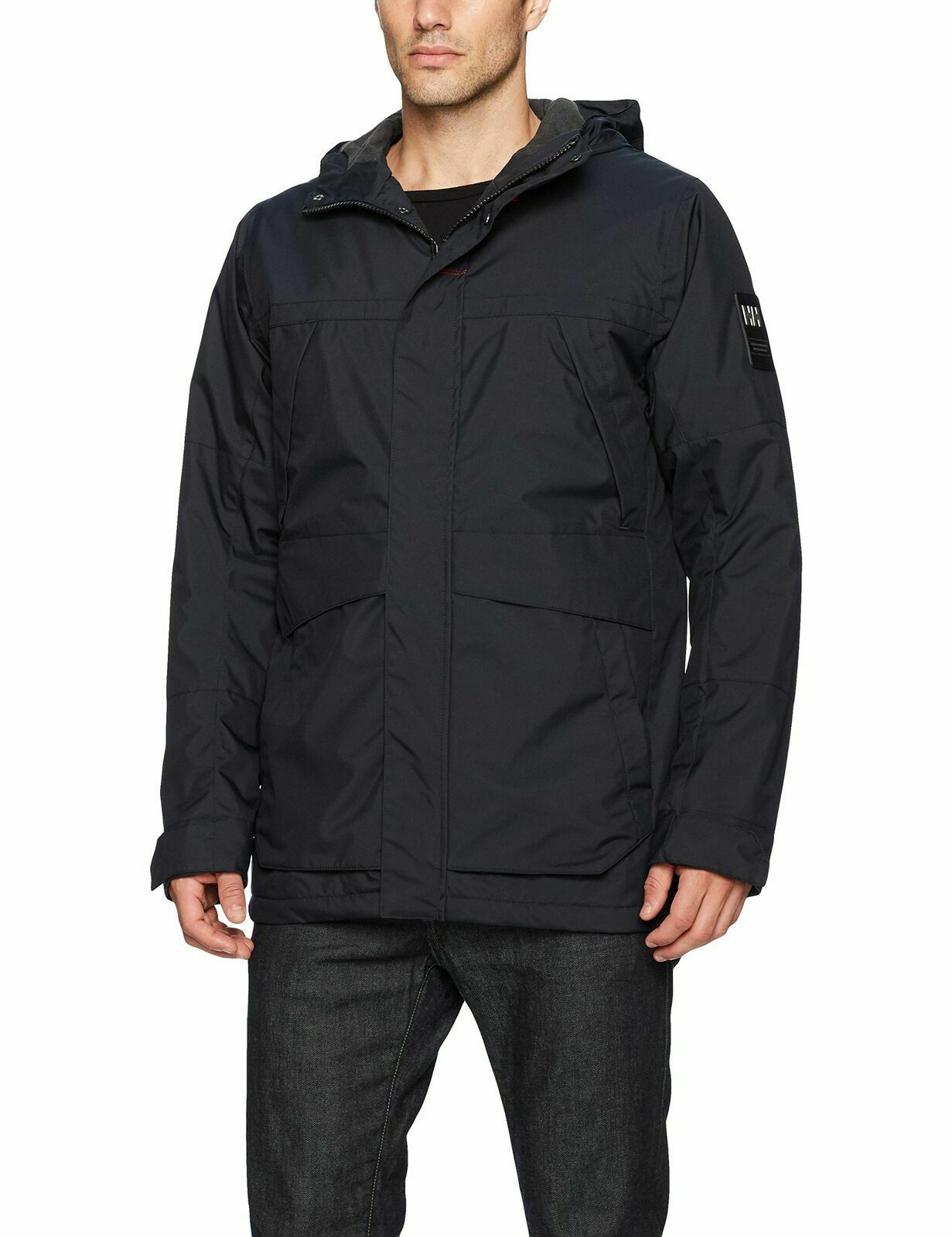 Helly Hansen Men's Harbour Ski Jacket Insulated Hooded – Navy Blue L Clothing