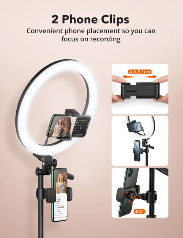 """TaoTronics 12"""" Ring Light, Selfie Ring Light with Extendable & Stable Tripod"""
