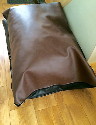 Faux Leather Pet Dog Bed -xxl - Brown removable inner size 55x35x9 inch