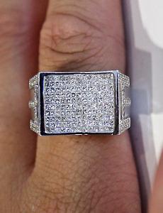 Men's 14k 2.00 carat natural diamond ring size 11 certificate