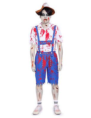 Mens Oktoberfest Costumes (Mens Zombie Bavarian Man Costume Halloween Oktoberfest Fancy Dress Living)
