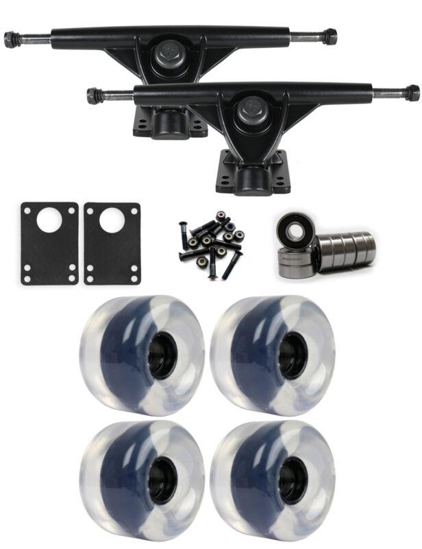 RKP Black Longboard Trucks Wheels Package 65mm x 44mm 83A Clear