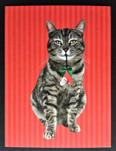 Cat Blank Note Card ONE New Xmas Postcard Post Card Brown Tabby Modern Cards Art