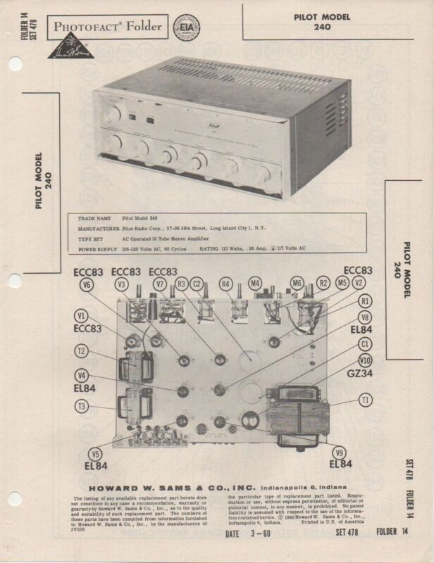 1960 PILOT 240 AMPLIFIER SERVICE MANUAL PHOTOFACT SCHEMATIC DIAGRAM REPAIR  FIX | eBayeBay