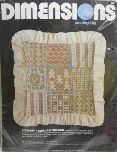 NIP  Needlepoint Kit Dimensions COUNTRY HEARTS PATCHWORK Pillow 12x12 Item #2295