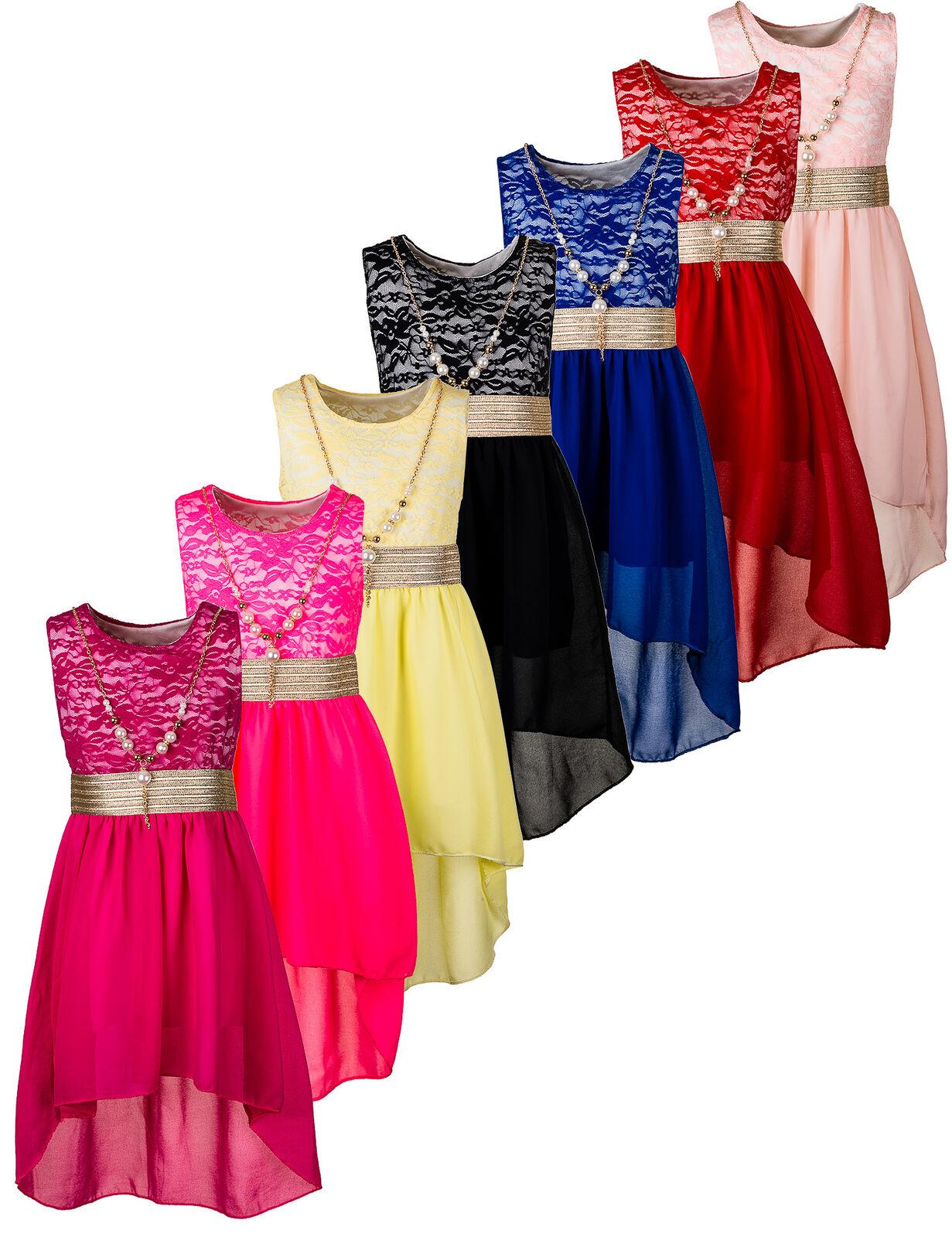 Kinder Fest Sommer Kleid Mädchen Sommerkleid Blumenmädchen Festkleid mit Kette
