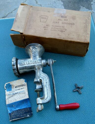 Vintage Cast Iron Keystone #50 Meat and Food Chopper w Instructions & Box