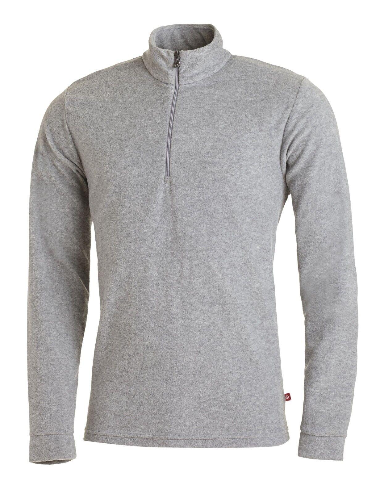 Medico Herren Ski Shirt Fleece Pullover Rolli langarm mit Zipper Grau