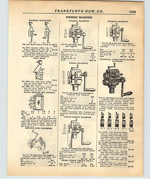- 1928 PAPER AD 15 PG Tinners' Tin Worker Tools Turning Burring Punch Torch Parts