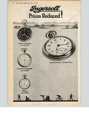 1922 Paper Ad 2 SHEET Ingersoll Pocket Watches Yankee Radiolite Midget