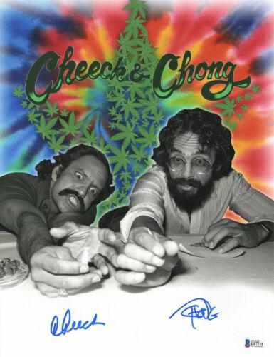 CHEECH AND CHONG SIGNED AUTO 11X14 PHOTO 'UP IN SMOKE' BAS BECKETT COA 369