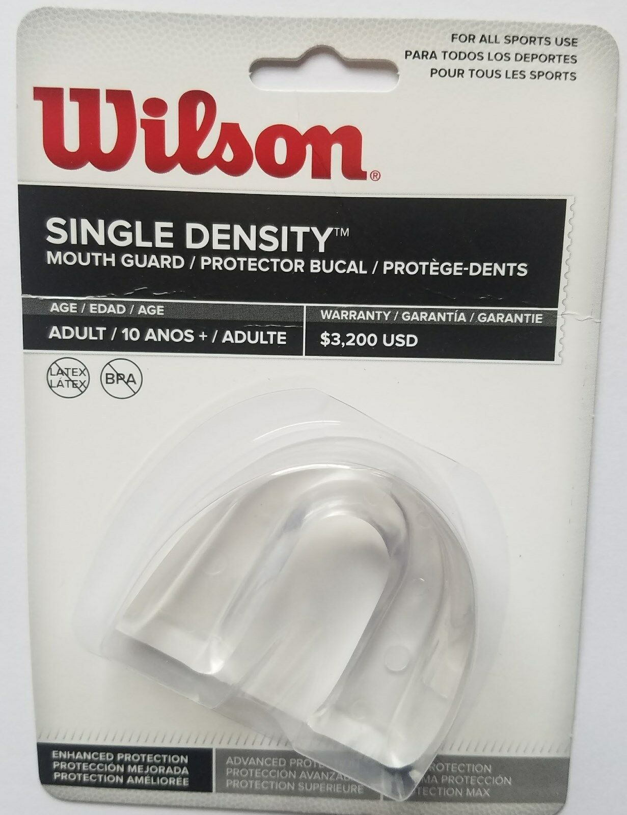 Wilson Adult Clear Single Density Without Strap Mouth Guard