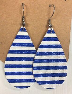 Blue Teardrop Earring (Blue & White Stripe Lightweight Faux Leather Teardrop)