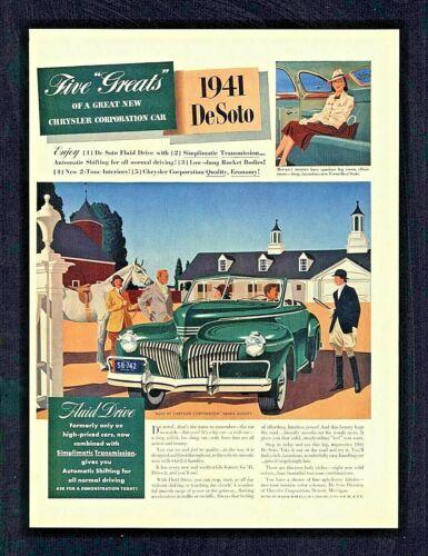 Original 1941 Chrysler De Soto Green Convertible Vintage Magazine Print Ad