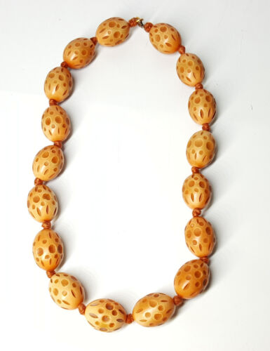 Art Deco Carved Tagua nut beads necklace.