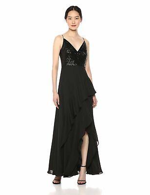 MSRP $249 Calvin Klein Sleeveless Gown Bodice Chiffon Ruffle Skirt Black 14 Bodice Chiffon Skirt