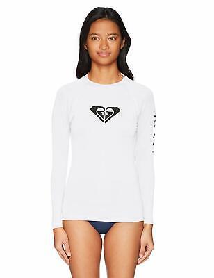 Roxy Junior's Whole Long Sleeve Rash Guard, White/Black Heart, XS Junior Long Sleeve Rash Guard