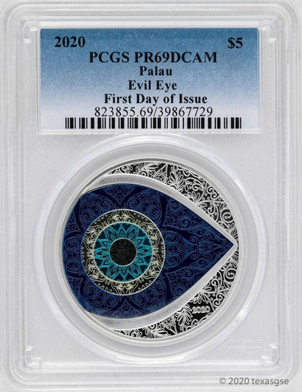 2020 $5 Palau Evil Eye 1oz .999 Silver Colorized Proof Coin PCGS PR69 - FDI