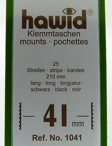 Hawid Black Stamp Mounts 210mm Strips In Packs Of 25 41mm 24mm 31mm 48mm 55mm