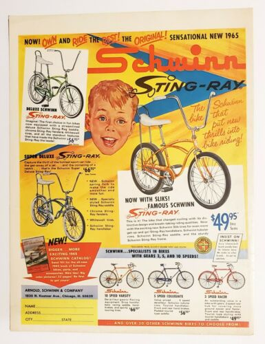 1965 Vintage Original Schwinn Bicycles Sting Ray print ad