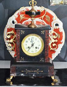 ancienne pendule horloge napoleoniii marbre bronze garniture de chemin e ebay. Black Bedroom Furniture Sets. Home Design Ideas