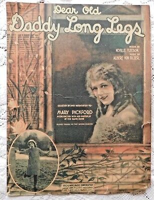 VINTAGE SHEET MUSIC - 1919 - DEAR OLD DADDY LONG LEGS - MARY PICKFORD COVER