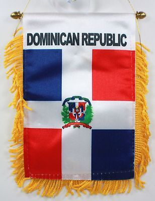 DOMINICAN REPUBLIC MINI BANNER FLAG GREAT FOR CAR & HOME WINDOW MIRROR HANGING