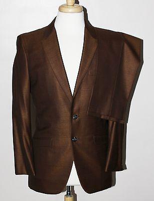 VTG 60s Shiny Brown Sharkskin Suit 36S Jacket 27x29 Pant Rat Pack Art Deco