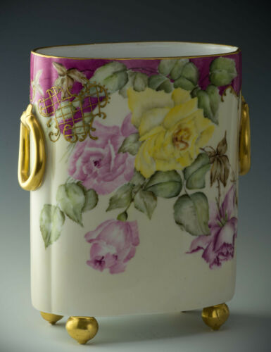 "LIMOGES HAND PAINTED ROSES 10-3/4"" CACHE POT VASE DATED 1896"