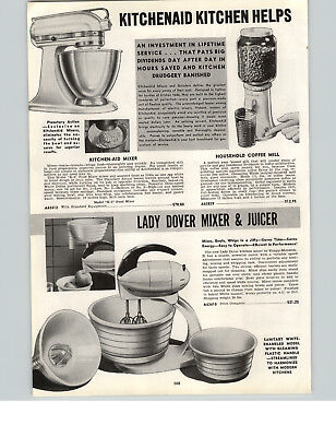 1942 PAPER AD 3 PG Kitchenaid Electric Food Mixer Lady Dover Universal