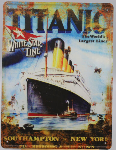 """RMS Titanic Tin Sign, 15.75"""" x 12"""" Inches, For Maiden Voyage White Star Line"""