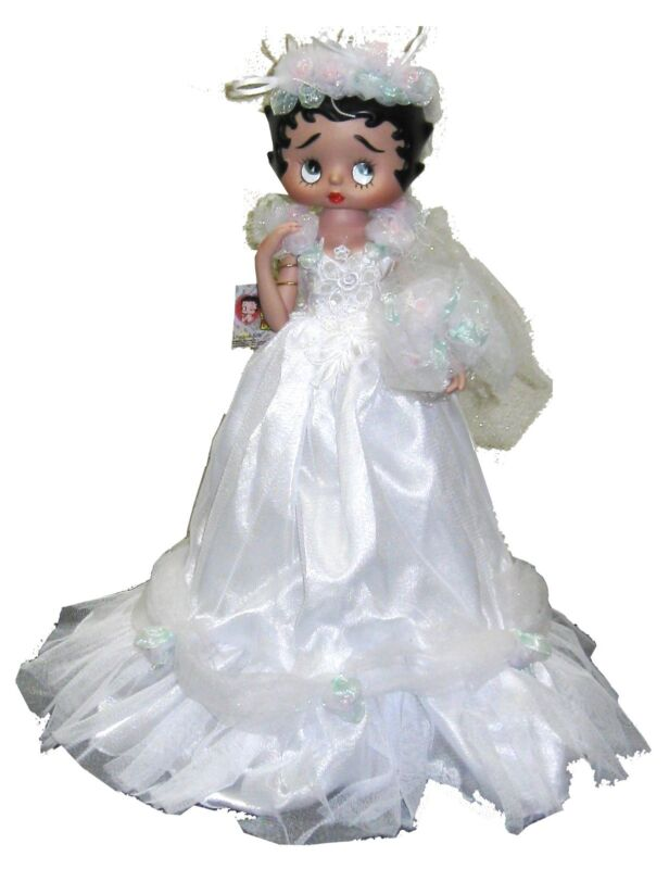 Betty Boop Bridal Dress Porcelain Figural Doll Table  Lamp, New