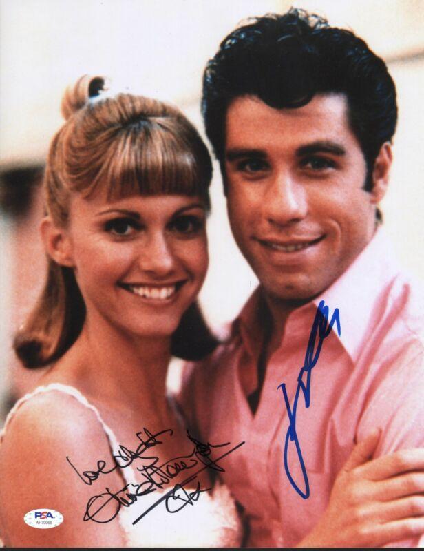 John Travolta Olivia Newton John Signed 11x14 Photo Grease PSA DNA