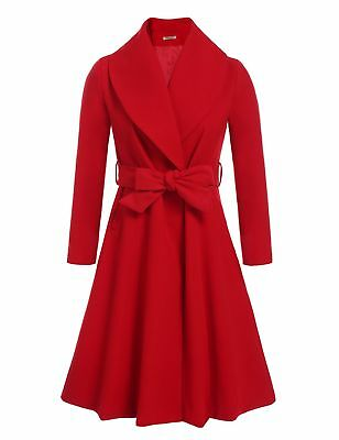 HOTOUCH Women's Notched Lapel Button Closure Worsted Long Trench Coat Red Small
