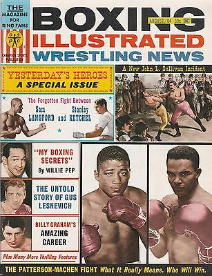 Boxing Illustrated  Wrestling News Aug  1964 John L Sullivan Patterson Etc