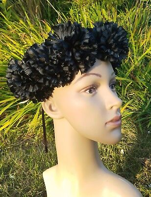 Black Flower Crown Goth Festival Flower Headband Formal Black Headpiece