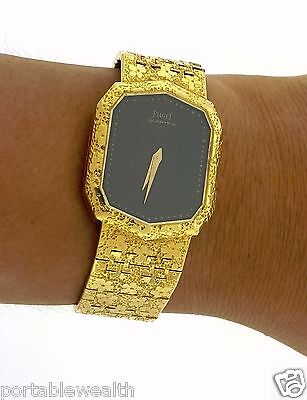 Piaget 18k Yellow Gold Watch fits up to 7 inch wrist back wind 78.5g  Rare