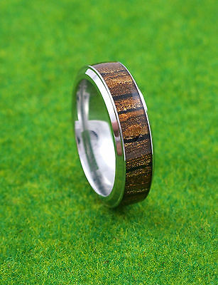 Gatik R1036 Gents 316L Stainless Steel Tiger Pattern Inlay 7mm Band Ring