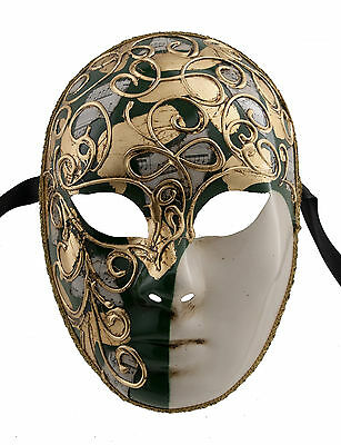 Mask from Venice Volto Green and Golden -mask Gala Evening Prom 1379 V36