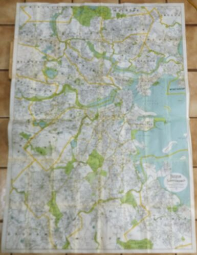"Large Walker Map / Plan - ""BOSTON AND SURROUNDINGS"" - Colored Lithograph - c1910"