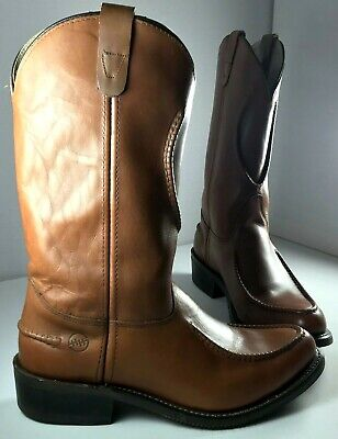 Double H Boots Mens Brown Leather Cowboy Work Western Cord Designs Size 11.5 D